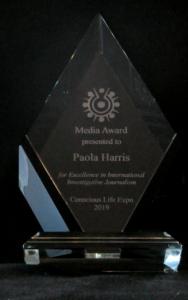 Conscious Life Expo Award for Excellence, MEDIA AWARD to Paola Harris